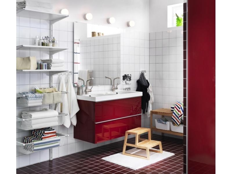 Meuble salle de bain rouge ikea id es de for Conception salle de bain ikea