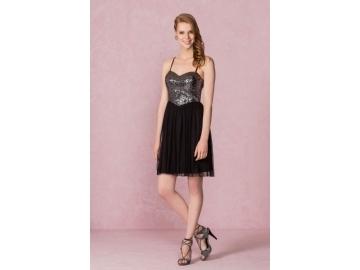 Simli Kısa Gece Elbisesi - 99,99 TL